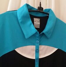 Gallaway Women Aqua Black Short Sleeve Golf Shirt Size S