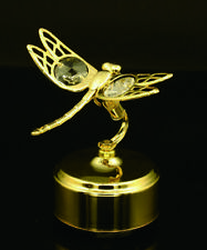SWAROVSKI CRYSTAL STUDED ROTATING DRAGONFLY MECHANICAL MUSIC BOX 24K GOLD PLATED