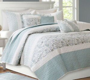 CHIC BLUE LACE 6pc Full Queen COVERLET SET : QUILT DAWN FARMHOUSE SHABBY PAISLEY