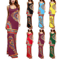 Women Lady Floral Sleeveless Dashiki Maxi Long African Evening Cocktail Dress US