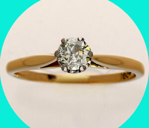 .36CT diamond antique estate solitaire engagement ring 18K yellow gold Euro cut