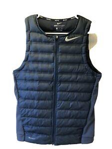 Nike Aeroloft Golf Men's Lightweight Full Zip Gilet Puffer Vest Navy Blue 854534