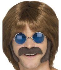 AÑOS 60 70 Hippy Disfraz Set Bigote & Patillas marrón De SMIFFYS
