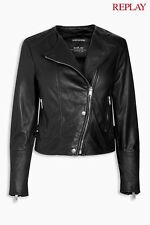 Replay Black Lambskin Biker Jacket Size Medium