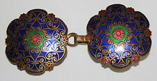 Art Nouveau blue green red enameled vintage belt buckle VGC
