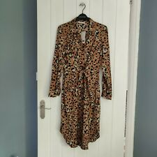 Womens MANGO Leopard print tie front button dress size XS UK 6 8 new with tags