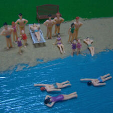 20pc Mixed 1:50 Painted Model Beach Swimmer People Figures Train Buildings Scene