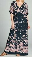 BNWT TUA Womens Size 18 Navy Blue Pink Faux Wrap Stretch Floral Maxi Dress