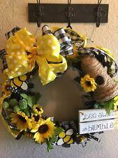 OOAK HANDMADE SPRING SUMMER HONEY BEE SUNFLOWER SKEP  WREATH-BEE SWEET BUMBLE