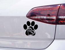 Hunde Herz Aufkleber Pfote Hund Sticker mit Wunschnamen Pfoten Tatzen tattoo