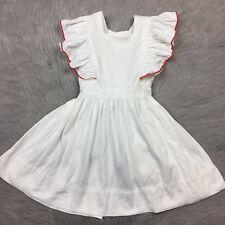 Vintage Handmade 1950s Toddler Girls White Red Flutter Pinafore Dress