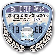 Retro Effetto Invecchiato Custom CAR SHOW ESPOSITORE PASS 1968 VINTAGE vinyl sticker decal