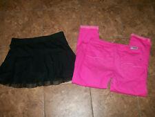 """JUSTICE Cuffed Capri Denim Girls """"Shine Bright"""" PINK & Black Skort Skirt Sz 18 R"""