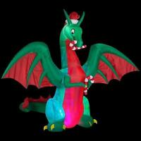 CHRISTMAS SANTA CANDY CANE DRAGON 11.5 FT Kaleidoscope  INFLATABLE AIRBLOWN YARD