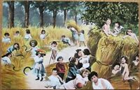 Multiple Baby 1906 Postcard: Babies Farming w/Sickles & Sycthes, Wheat