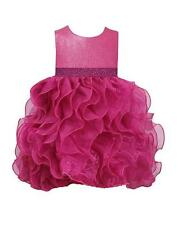 New Girls Bonnie Jean 2T Fuchsia Organza Ruffle Dress Special Occasion Clothes