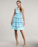 LILLY PULITZER KIERA TURQUOISE WRAPPING STRIPE DRESS 4 NWT