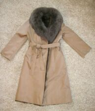 Saks Fifth Avenue Tan Trench Coat Real Opossum Fur Removeable Lining S M 6 8