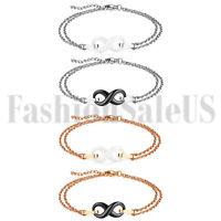 Stainless Steel Women Ladies Charm Ceramic Infinity Dangle Chain Bracelet Bangle