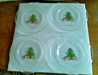 "4   Arcoroc France Christmas Tree Toys Presents Glass Salad Dessert Plates 8"""