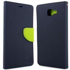 Navy / Neon Green Phone Cover for Samsung Galaxy A9 Card Case Holder Folio Pouch