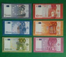 Serie de 6 billets en euro Monopoly 5 10 20 50 100 et 500 euro 1997 1998 rare