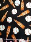 """Beer And Ball Cotton Fabric Fat Quarter Drink Novelty Drinks Lager Ale 18x21"""" FQ"""