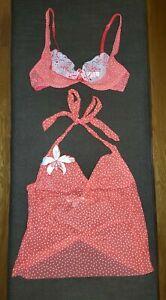 Victoria Secret 2 Piece Lingerie Set, Red w/ White Polka Dot, Small or 36B