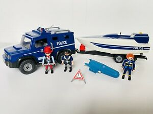 Playmobil 5187 Police Car and Boat with Figures Accessories and Motor