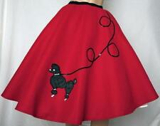 """5 Pc RED 50's Poodle Skirt Outfit Size Large Waist: 35""""-43"""" Length 25"""""""