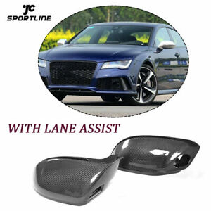 Carbon Mirror Cover For AUDI A7 S7 RS7 11-17 With Side Lane Assist Replacement