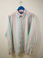 TOMMY HILFIGER CAMICIA IN RAMIE A RIGHE UOMO TG.XL SHIRT MAN CASUAL VINTAGE E384