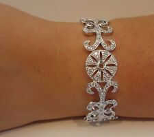 18K WHITE GOLD OVER 925 SILVER FLOWER DESIGN  ITALIAN BRACELET W/ 5 CT DIAMONDS