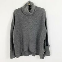 MOTH Anthropologie Sweater High Low Gray Cowl Neck Size Small Long Sleeves