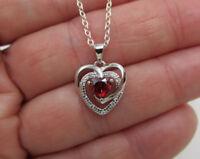 Red Garnet CZ Open Heart Pendant 925 Sterling Silver January Birthstone Necklace