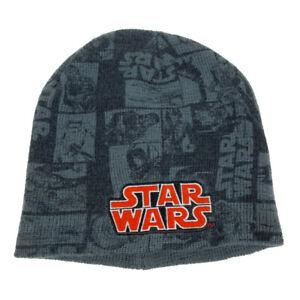 Disney Star Wars Beanie Kid's Knit Beanie Winter Hat- Black Gray Red Embroidered
