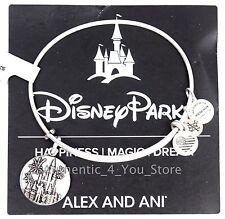 NEW Disney ALEX AND ANI WDW Cinderella Castle SILVER Walt Mickey Charm Bracelet