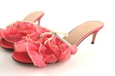 Gucci Fabric Satin Leather Peach White Soft Tulle GG Logo Bow Slide Sandals 37