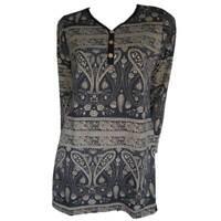 Tunic Tops Plus Size 10 12 14 16 18 20 EVERSUN Tan Black Dress Paisley Floral