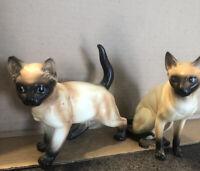 VINTAGE ANTIQUE LEFTON CERAMIC SIAMESE CATS LOT OF 2 JAPAN RARE!