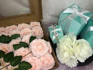 Artificial Flowers Blush Roses 25pcs Real Looking Fake W/Stem Rose Head Wedding