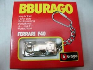 WOW EXTREMELY RARE Ferrari F40 Chrome Plated Made in Italy Keyring 1:87 Burago