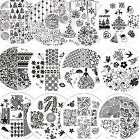 Born Pretty Nail Art Stamping Plates Christmas Flower Printed Round Templates