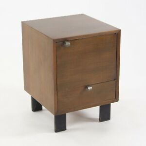 1950s Vintage George Nelson Herman Miller BSC Bedside End Side Table Dark Walnut