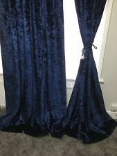 heavy weight navy blue crushed velvet curtains,5 sizes,tapetop,fully lined