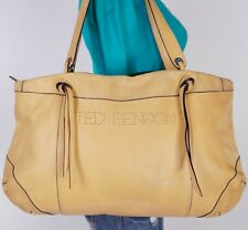TED BENSON ITALY Extra Lrg Yellow  Leather Shoulder Hobo Tote Satchel Purse Bag