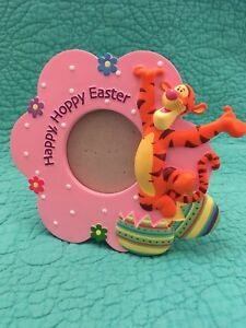 """""""Happy Hoppy Easter"""" Pink Flower Tigger Picture Frame By Connoisseur"""