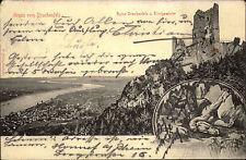 Königswinter 1903 Burg Ruine Drachenfels Burgruine nach Köstritz mit A-Stempel