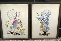 Vintage Pair Holly Hobbie Framed Crewel Embroidered Wall Hanging Pictures