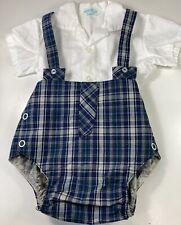 Alexis Baby Boy Shirt Bubble Romper Bodysuit White Blue Plaid Vintage 6 mo USA